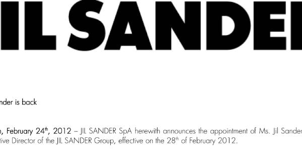 Jil Sander: Offizielle Mitteilung