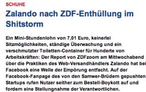 ZDF Zoom zu Zalando und die Debatte