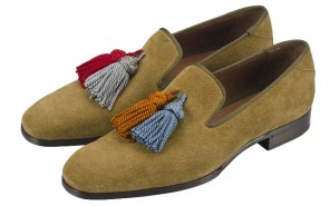 JIMMY-CHOO-MEN-SS13-Foxley-Textured-Suede-Satin-Tobacco-modepilot-blog-schuhe-tassel-loafer-Mix Pair