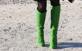 Hut und Pelz grüne Stiefel