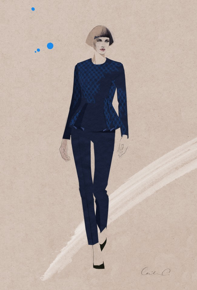 Jacquard Peplum Blouse and Slim Pant_Illustration by Cecilia Carlstedt_ Exp Aug 2014