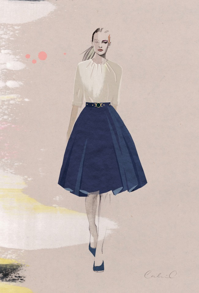 Shirred Neck Blouse and Pleated Skirt_Illustration by Cecilia Carlstedt_Exp Aug 2014
