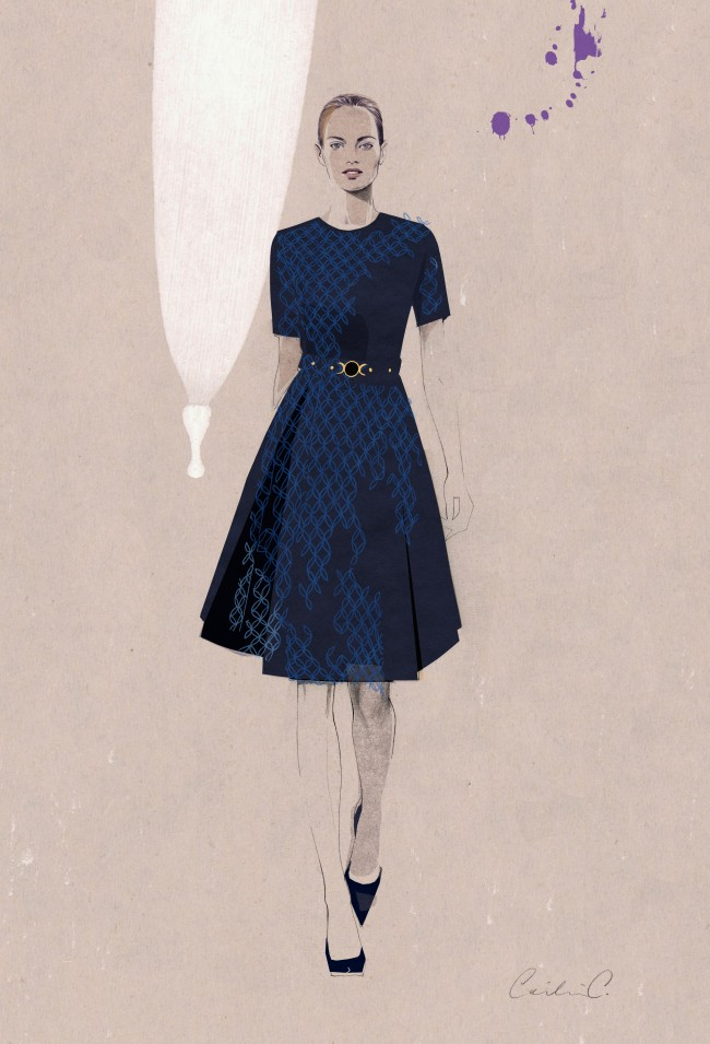 Short-Sleeved Pleated Dress_Illustration by Cecilia Carlstedt_Exp Aug 2014
