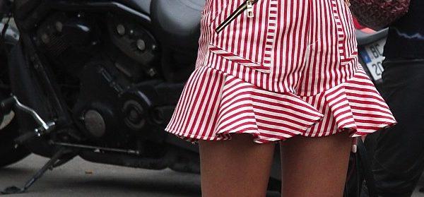 Streetstyle: Streifen in Rosa-Rot