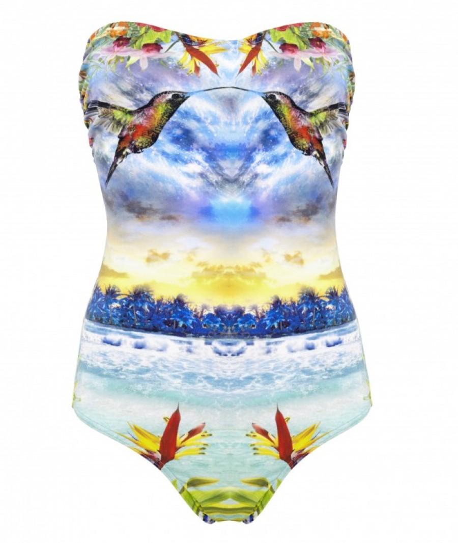 ASOS Tropical Print Bandeau Swimsuit £32