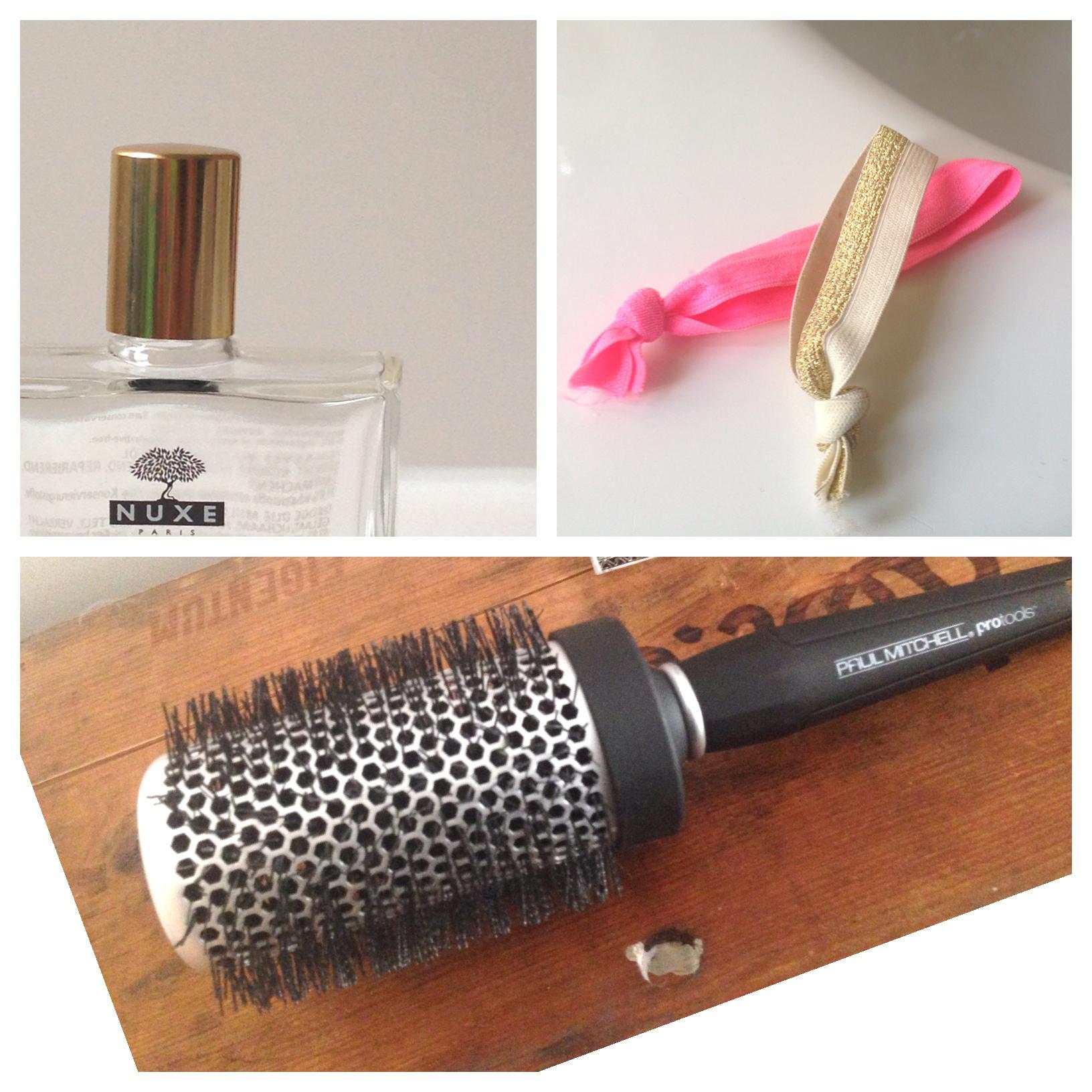 Nuxe Haaröl Scoopy Loop Haargummis mit Knoten Haarbürste ionisch Paul Mitchel
