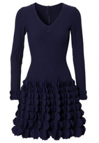 Dark blue knitted dress with 35 percent silk content. Azzedine Alaïa of about hate-fashion.com