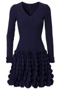 Dunkelblaues Strickkleid mit 35 Prozent Seidenanteil. Von Azzedine Alaïa, über ungern-fashion.com