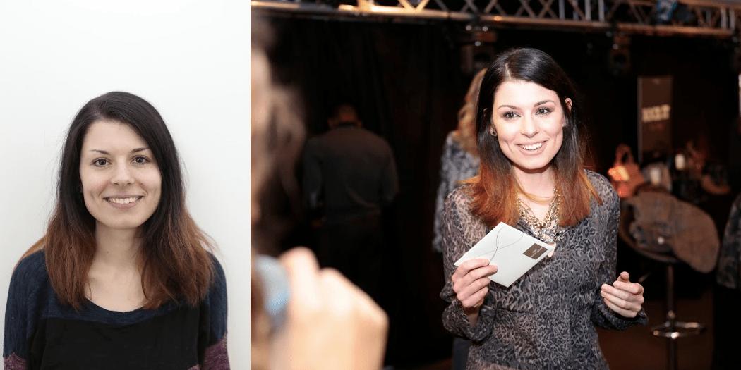 Modepilot-Gewinnerin Isabell vor und nach dem Umstyling – rechts mit ihrem 500 Euro-Shoppinggutschein von Konen