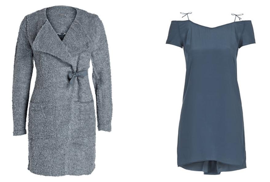 Kuschel Cardigan grau Breuninger Kleid petrol Seide Topshop Modepilot