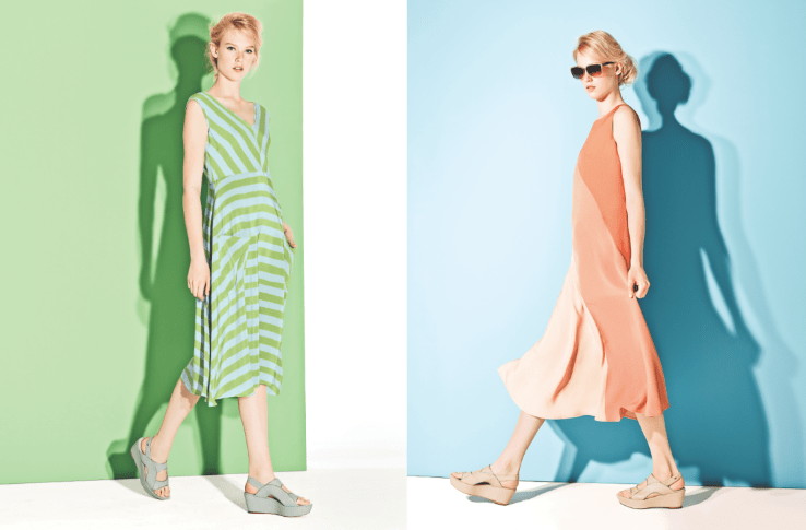 Escada Sport Spring Summer 2015 silk dress green blue apricot Modepilot