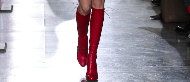 Rote Stiefel red boots Jonathan Saunders London Fashion Week Trend Modepilot