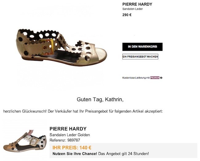 Pierre Hardy Gold Sandale Modepilot
