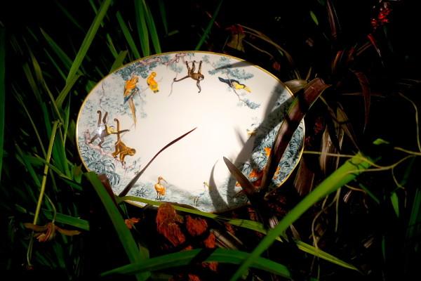 Die tollste Geschirr-Präsentation, die ich je gesehen habe. Präsentier-Teller im Dschungel-Gras.