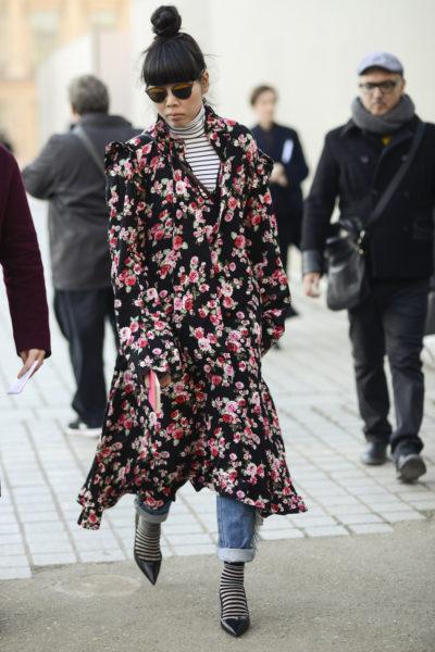 """Bei Susie Bubble bin ich mir nie so sicher, ob das jetzt """"best"""" oder """"worst"""" dressed ist. Diese Muster-Kombi finde ich aber sehr gelungen. Näturlich trägt die bekannte Bloggerin und Redakteurin schon ein Kleid vom neuen It-Label Vetements."""