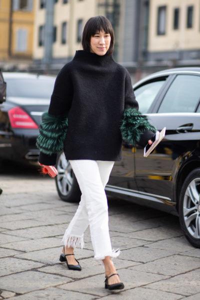 Die Modefrau von Instagram: Eva Chen in weißer Fransen-Jeans