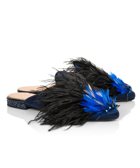 Chatelles x Elisabeth Thurn und Taxis Haute Couture Capsule Blue Satin Mules with Thin Ostrich Feathers & Pearls www.mychatelles.com 2