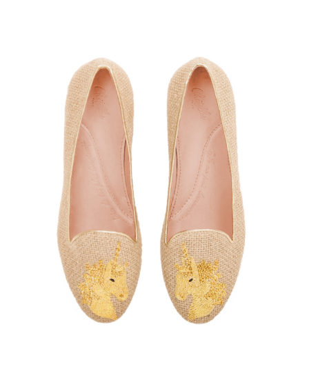 Chatelles x Elisabeth Thurn und Taxis Haute Couture Capsule Sand Raffia Slippers with a Hand-Embroidered Gold Thread Unicorn www.mychatelles.com 1