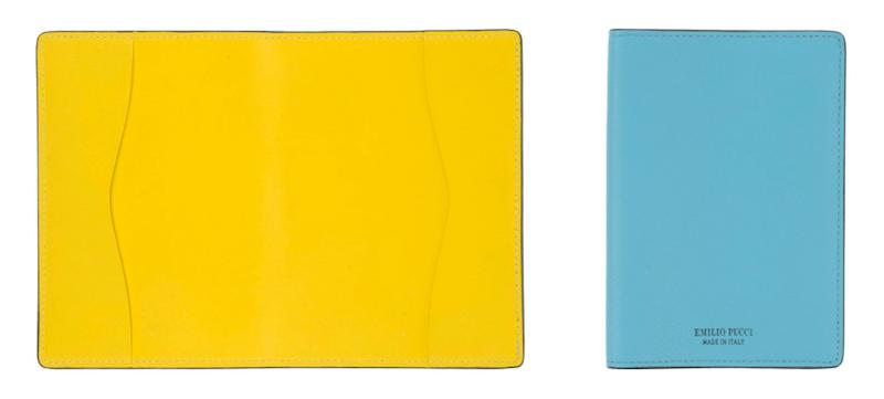 Pass Etui Huelle Blau hellblau Gelb Emilio Pucci Leder Modepilot