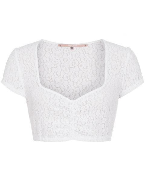 Spitzenbluse für Damen von Silk & Pearls in Weiß mit kurzen Ärmeln. Um 139 Euro, via Lodenfrey.