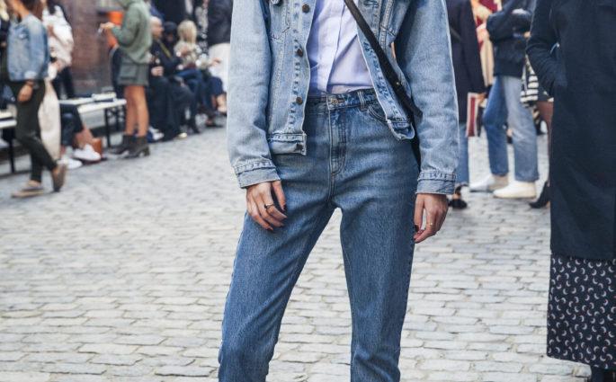 street style denim on denim candaian tuxedo kopenhagen modepilot