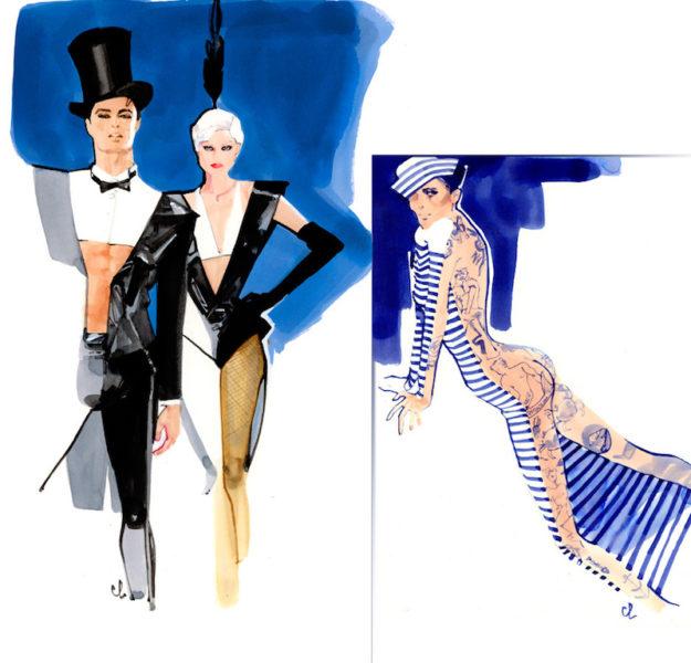 Zeichnung von Jean Paul Gaultier für die THE ONE Grand Show