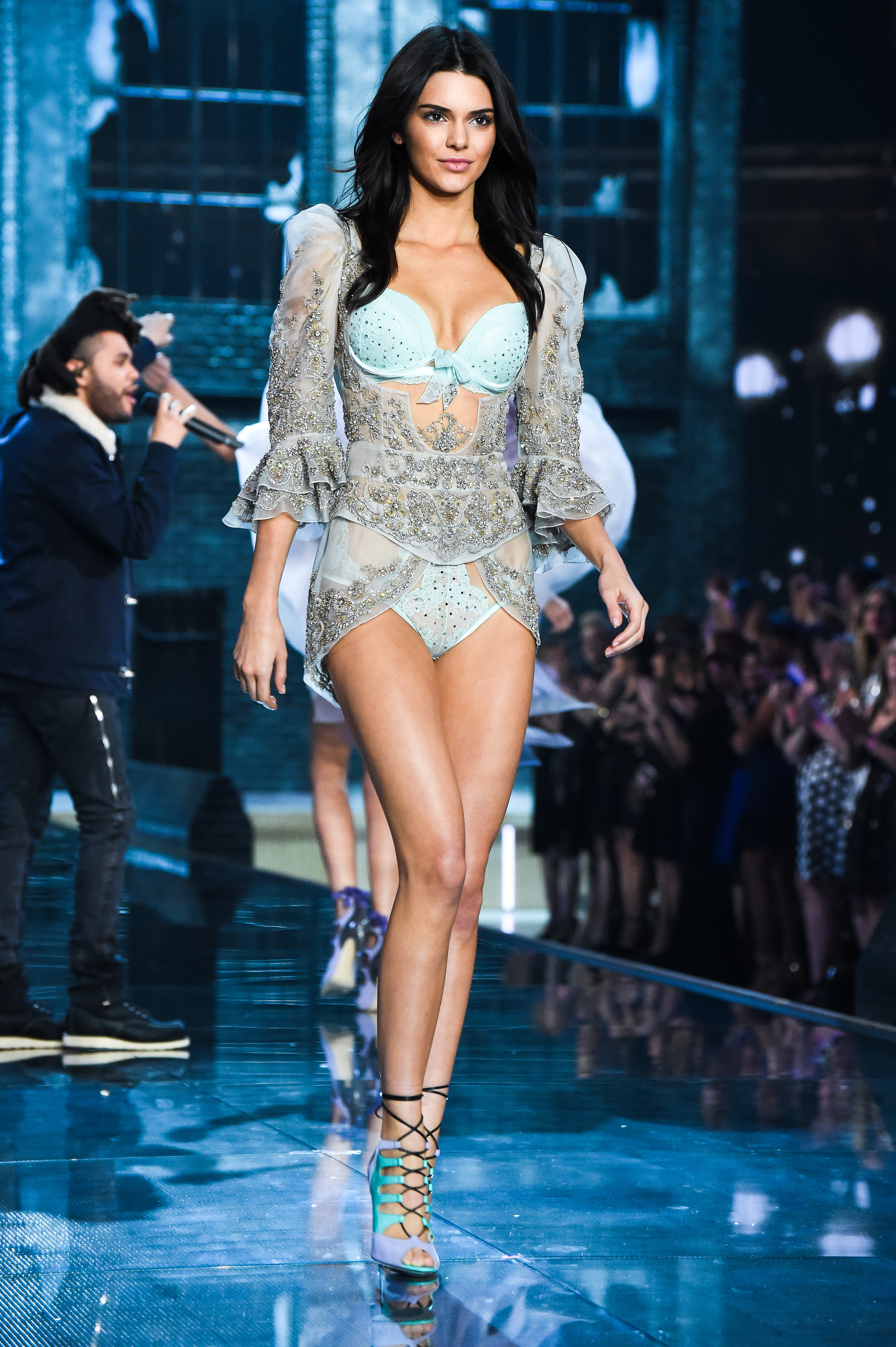 Victorias Secret Designer Collection Bra and Matching Panty Organza Bodice Embroidered with Swarovski Crystals, Kendall Jenner
