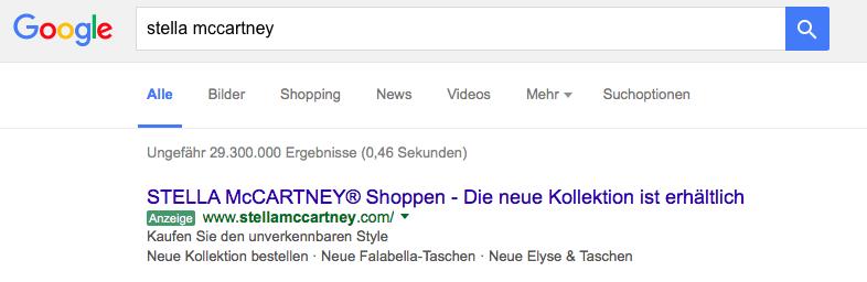 Stella McCartney Google Anzeige Modepilot