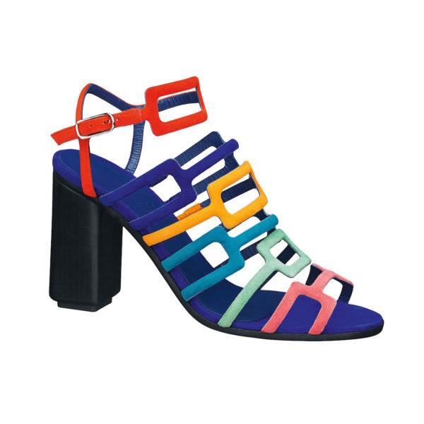 Sandalette mit bunte H-Riemchen und einem schwarzen Blockabsatz