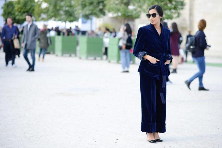 Samt suit velvet streetstyle pyjama suit modepilot blue