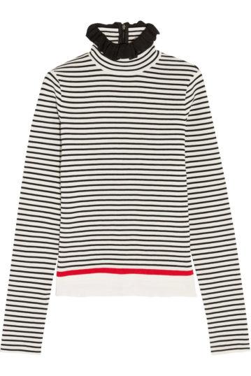 Gestreifter Rollkragen-Sweater mit Rüschen am Kragen