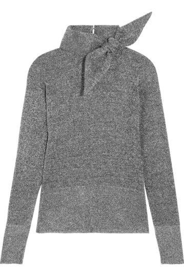 isabel-marant-adil-bow-embellished-metallic-knitted-turtleneck-top