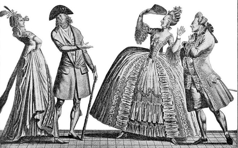 Paris 1797: Perspektivenwechsel: links der neue Look, rechts der alte.