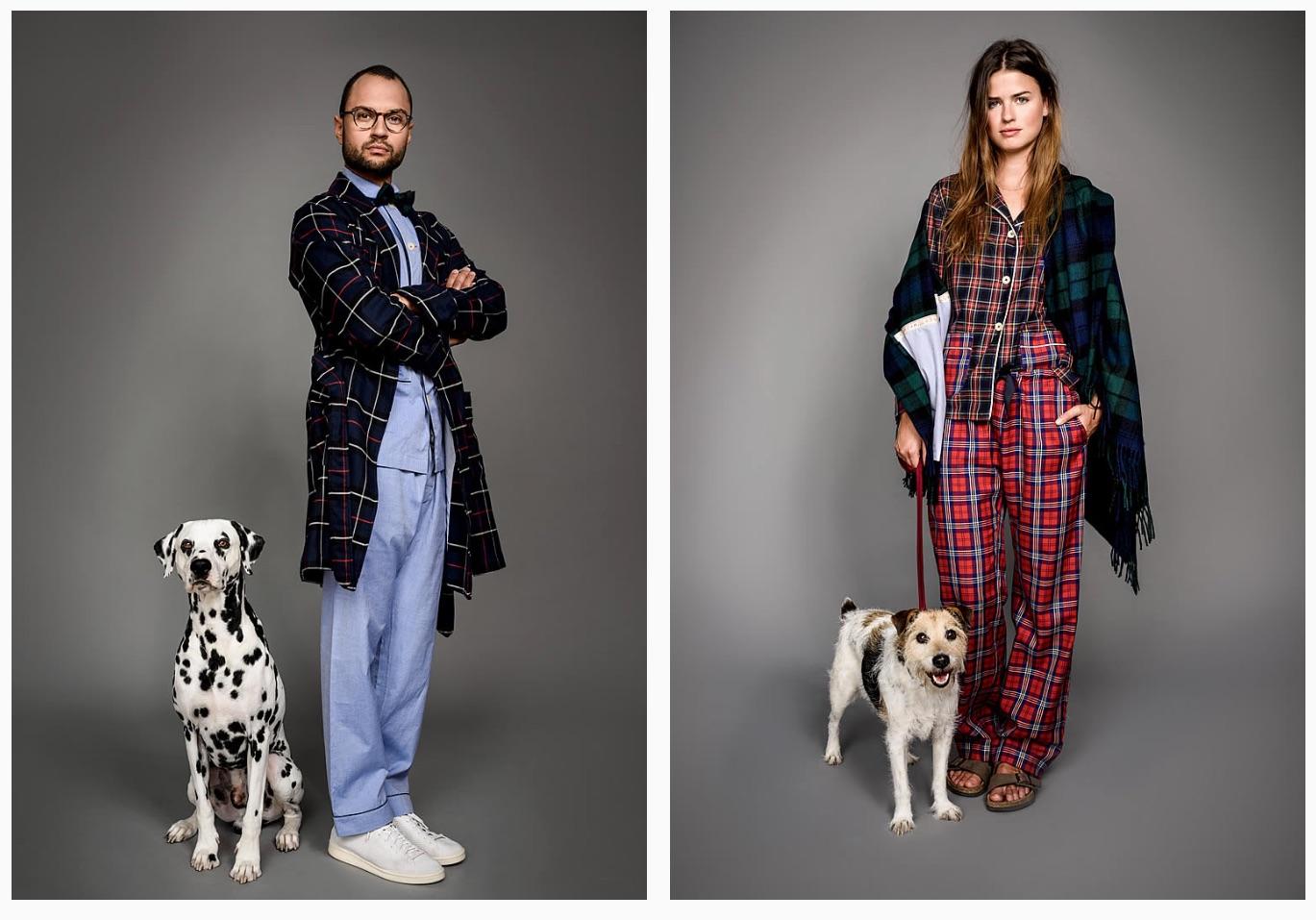 """Ein gutes Beispiel um die Unisex-Idee zu zeigen: Der Pyjama ist ein universelles Kleidungsstück, dass von Männern und Frauen gleichermaßen getragen werden kann. Hier von dem Label """"Maison Marcy""""."""