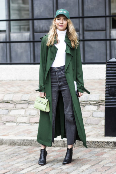 Roberta Benteler in a coat by Acne Studios and a cape by Vetements