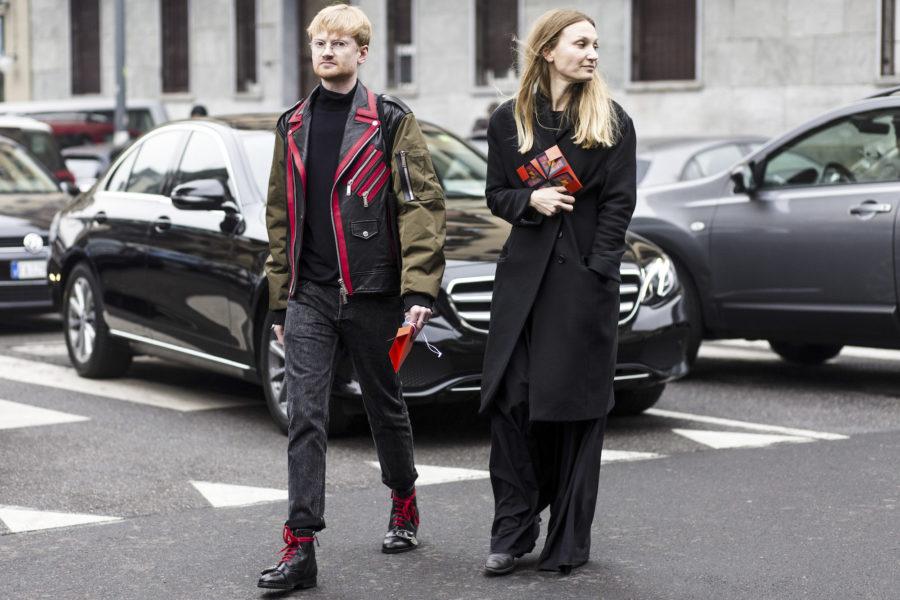 Samira Fricke (SZ Magazine) and Dennis Braatz (fashion features editor, Süddeutsche Zeitung). He wears a strict critic look and Gucci.