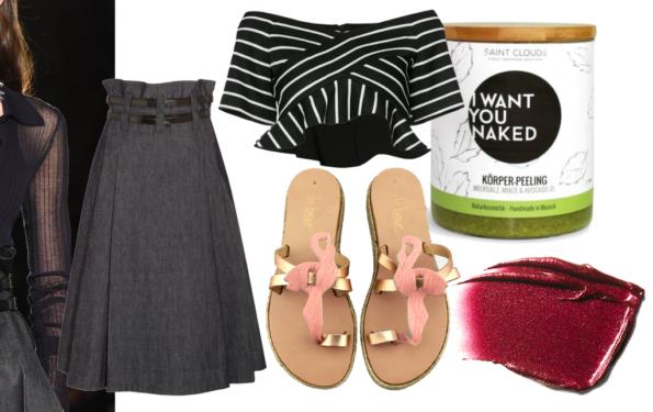 Collage Denim skirt Denimrock Bottega Veneta Modepilot Flamingo sandals