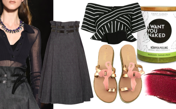 Collage Denim skirt Denimrock Bottega Veneta Modepilot Flamingo sandals