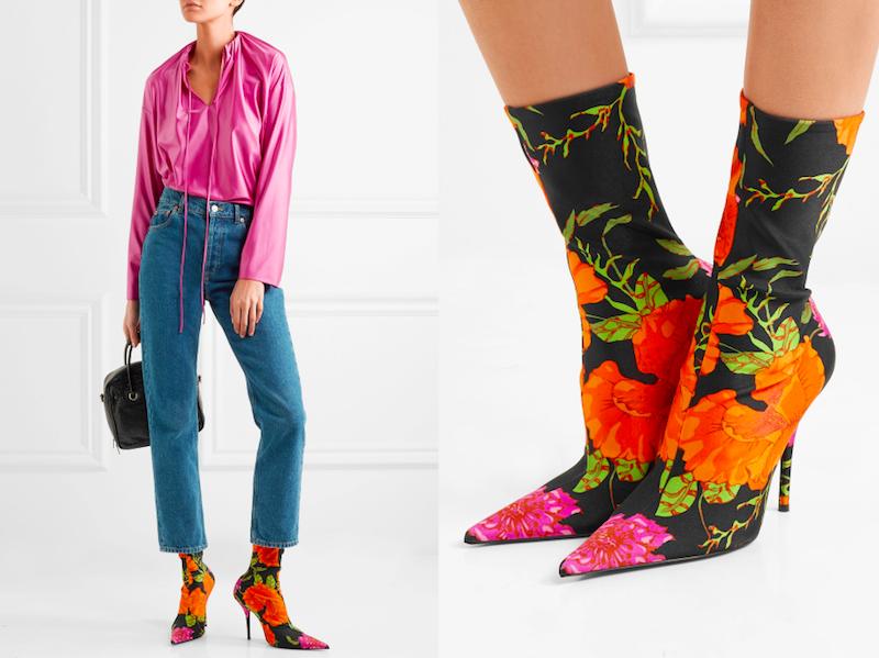 Balenciaga Muster Stiefeletten Strumpf Blumen Modepilot