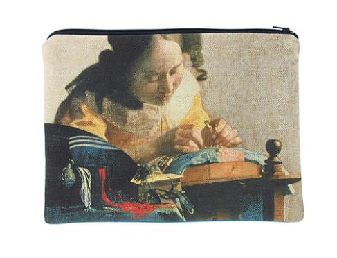 "Clutch mit Johannes Vermeers ""Die Spitzenklöpplerin"""