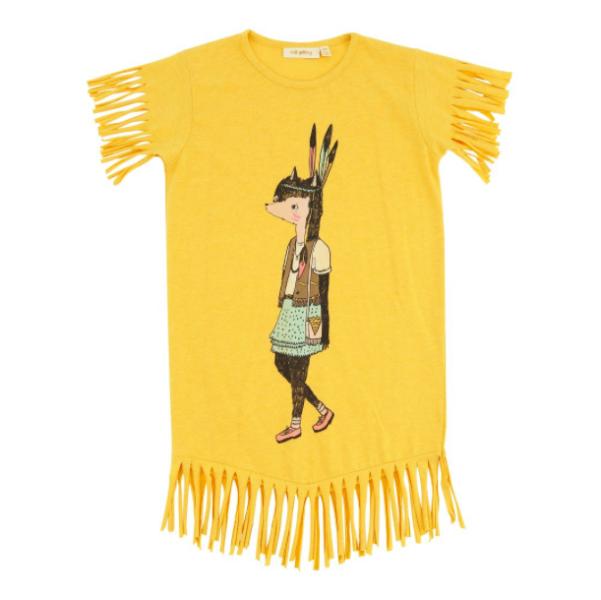 Gelbes Indianerkleid mit Fransen von Soft Gallery, 97 % Baumwolle