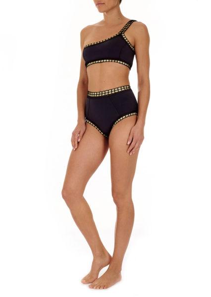 schwarzer Bikini mit goldfarbenen Abschlüssen von Kiini