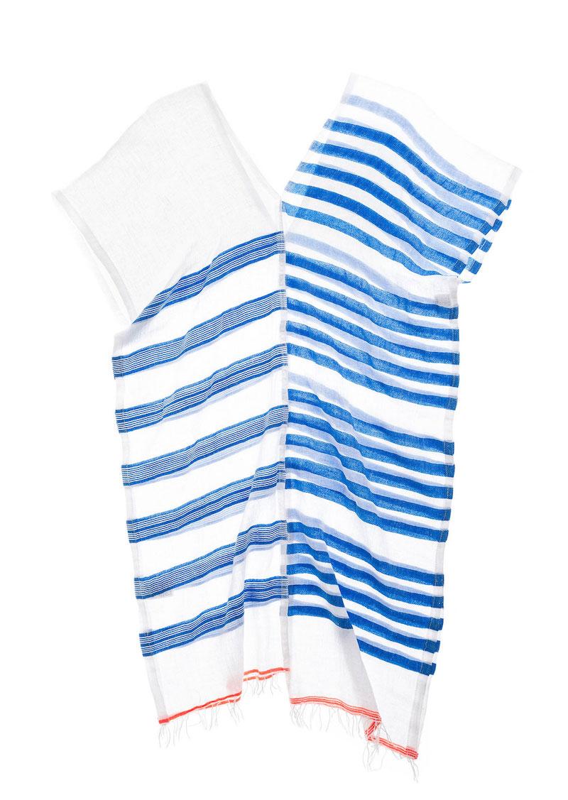 LemLem Modepilot Marin Milou Gaze Baumwolle Streifen Blau Weiss