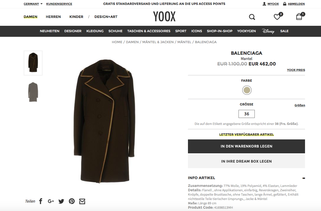 Screenshot coat Mantel Givenchy Balenciaga Yoox