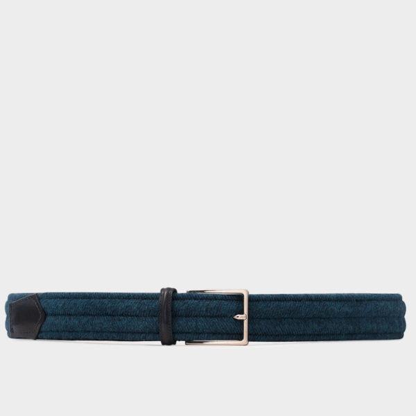 """Blauer Herrengürtel """"Fabrizio"""" aus Wolle und pflanzlich gegerbtem Leder"""