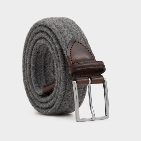 """Grauer Herrengürtel """"Giovanni"""" aus Wolle und pflanzlich gegerbtem Leder"""