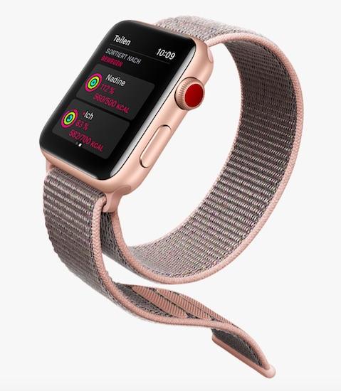 Die neue Apple Watch Series mit meinem Lieblingsarmband (auch neu): ein langer Klettverschluss-Streifen – gibt es vielen Farben