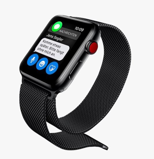 Größte Neuerung: Mit der Apple Watch 3 kann man telefonieren, auch wenn das iPhone nicht dabei ist (integrierte eSim) – allerdings geht das aktuell nur mit einem Telekom-Vertrag in Deutschland