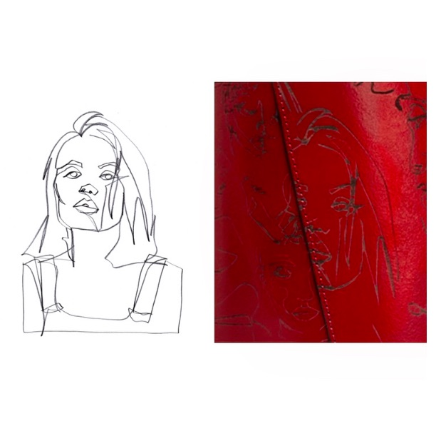 Zeichnung von Boris Schmitz und ein Ausschnitt der Handtasche von Zara
