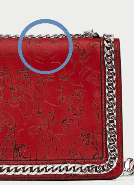 Das von Annes Bin gezeichnete Gesicht auf der Tasche von Zara